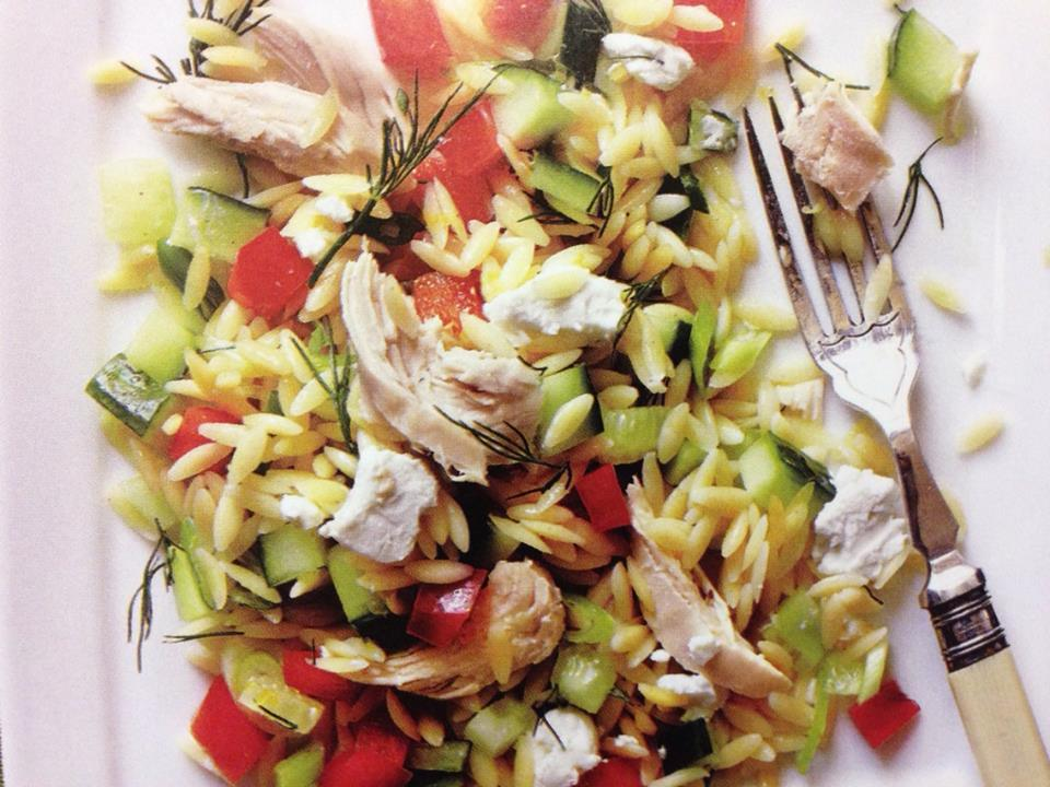 lemony orzo veggie salad with chicken : Stepbysteprecipe.com