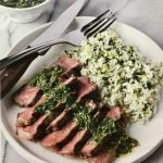 https://stepbysteprecipe.com/grilled-strip-steaks-with-green-rice-and-cilantro-sauce/